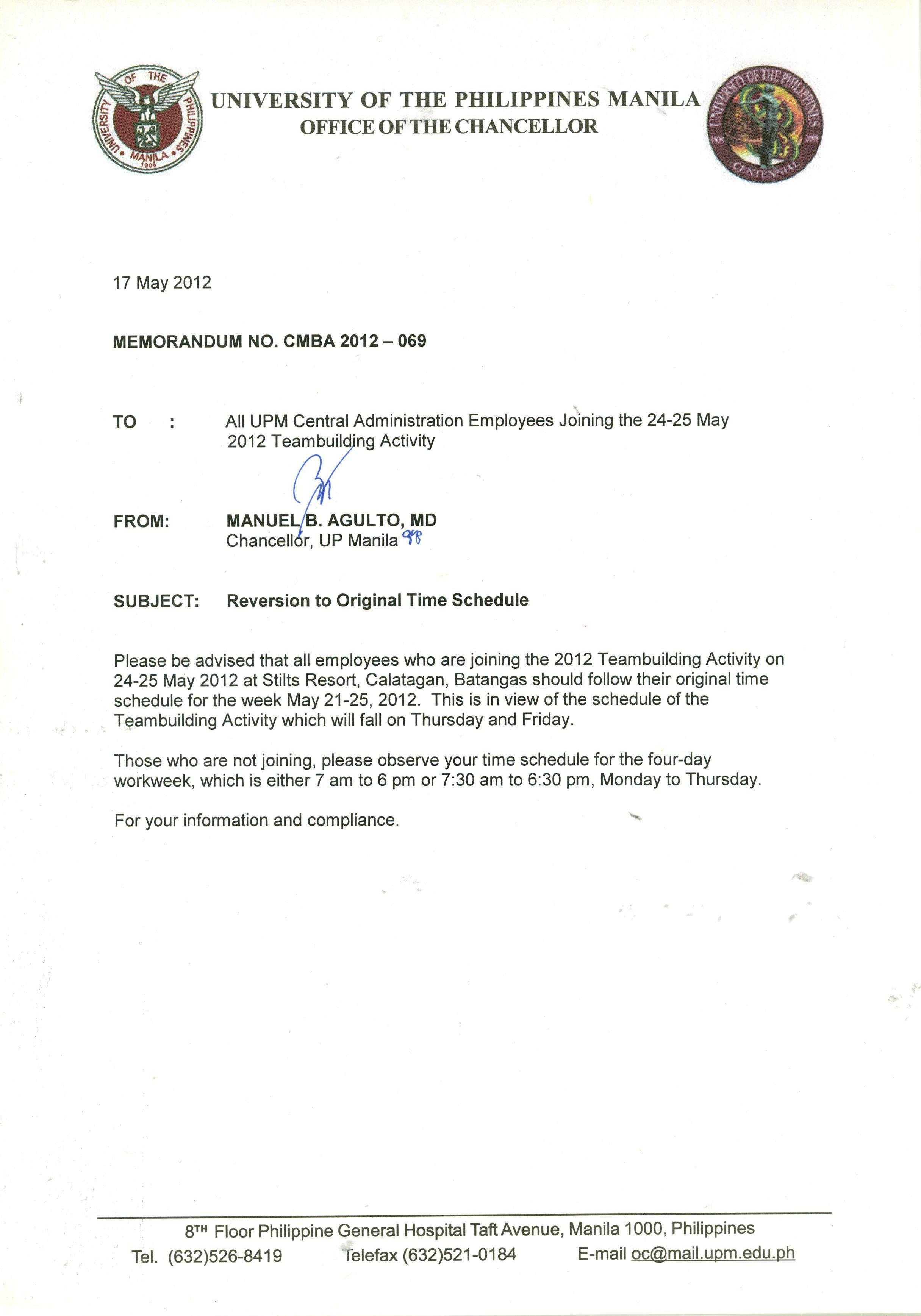 Chancellor S Memorandum For Cad Employees Joining The